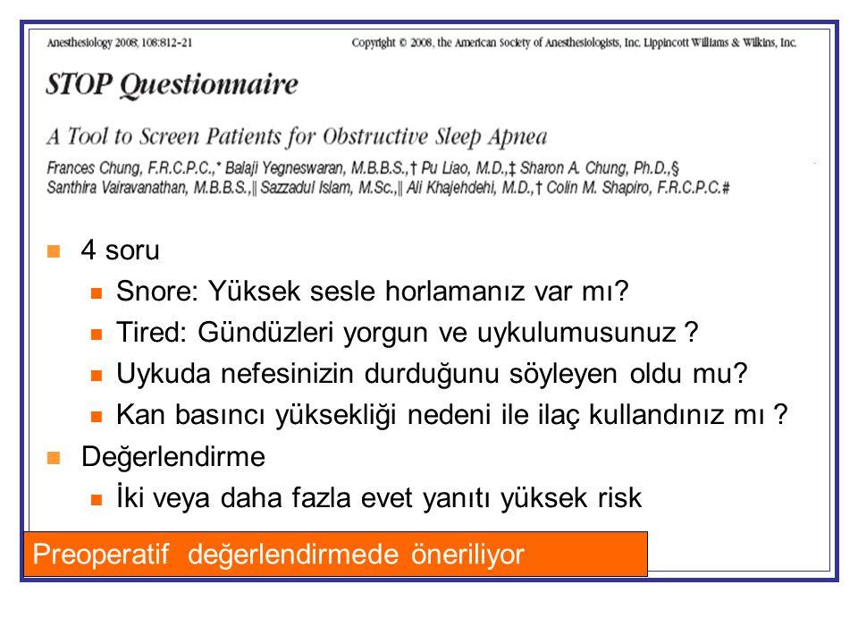 4 soru Snore: Yüksek sesle horlamanız var mı Tired: Gündüzleri yorgun ve uykulumusunuz Uykuda nefesinizin durduğunu söyleyen oldu mu