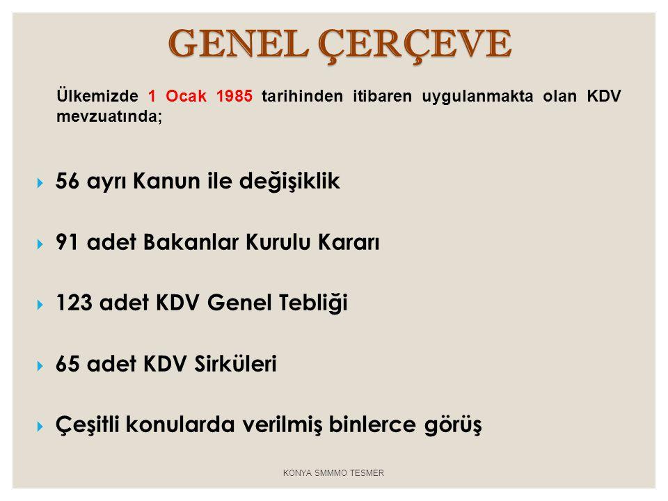 GENEL ÇERÇEVE 56 ayrı Kanun ile değişiklik