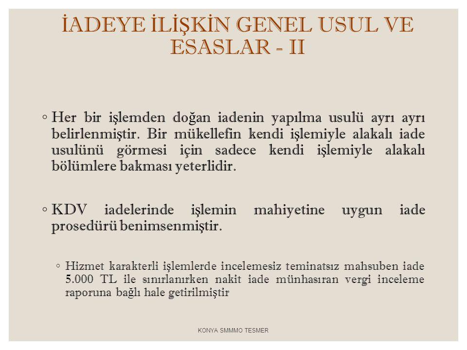 İADEYE İLİŞKİN GENEL USUL VE ESASLAR - II