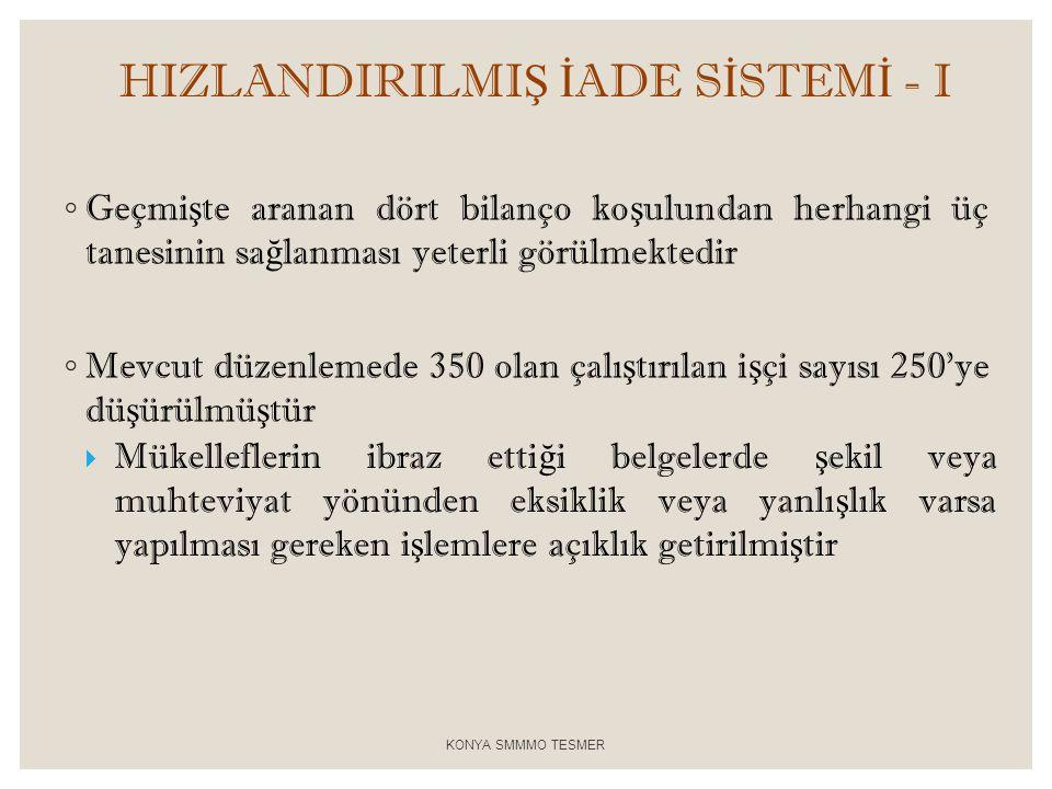 HIZLANDIRILMIŞ İADE SİSTEMİ - I