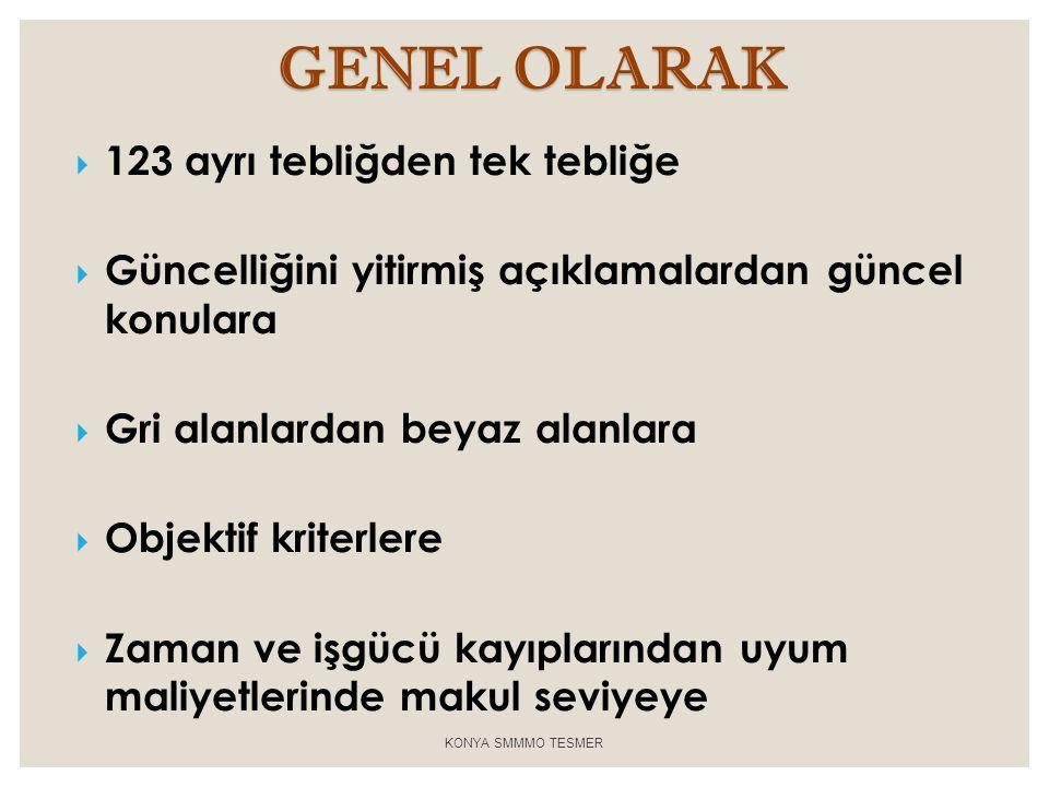 GENEL OLARAK 123 ayrı tebliğden tek tebliğe