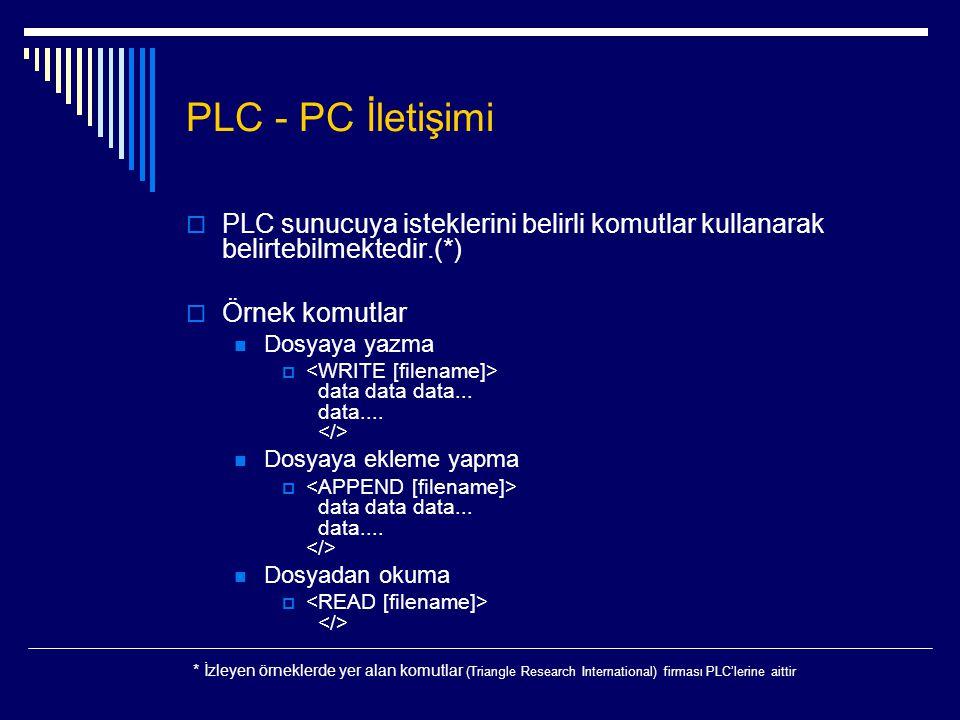 PLC - PC İletişimi PLC sunucuya isteklerini belirli komutlar kullanarak belirtebilmektedir.(*) Örnek komutlar.