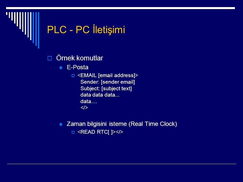 PLC - PC İletişimi Örnek komutlar E-Posta
