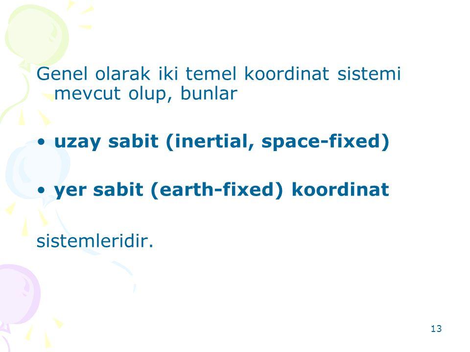 Genel olarak iki temel koordinat sistemi mevcut olup, bunlar