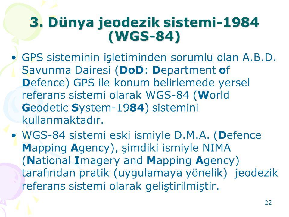 3. Dünya jeodezik sistemi-1984 (WGS-84)