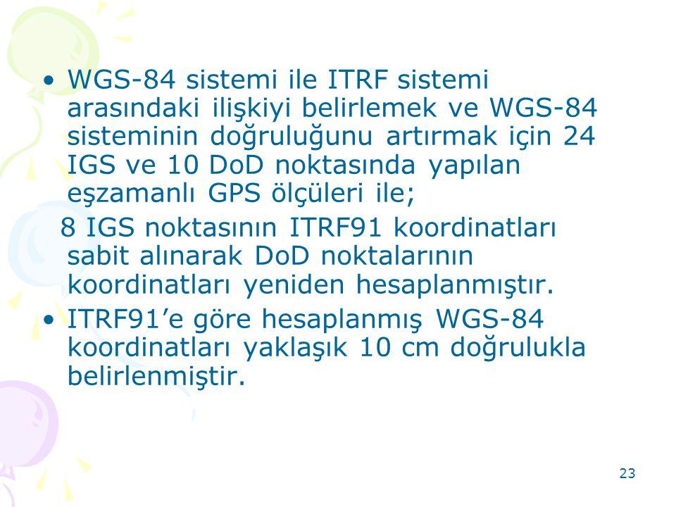WGS-84 sistemi ile ITRF sistemi arasındaki ilişkiyi belirlemek ve WGS-84 sisteminin doğruluğunu artırmak için 24 IGS ve 10 DoD noktasında yapılan eşzamanlı GPS ölçüleri ile;