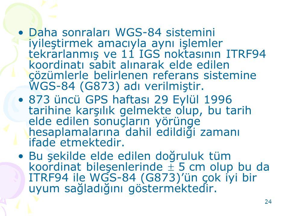 Daha sonraları WGS-84 sistemini iyileştirmek amacıyla aynı işlemler tekrarlanmış ve 11 IGS noktasının ITRF94 koordinatı sabit alınarak elde edilen çözümlerle belirlenen referans sistemine WGS-84 (G873) adı verilmiştir.