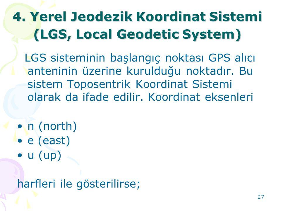 4. Yerel Jeodezik Koordinat Sistemi (LGS, Local Geodetic System)