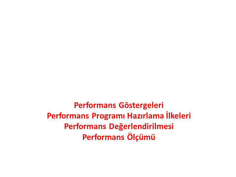 Performans Göstergeleri Performans Programı Hazırlama İlkeleri