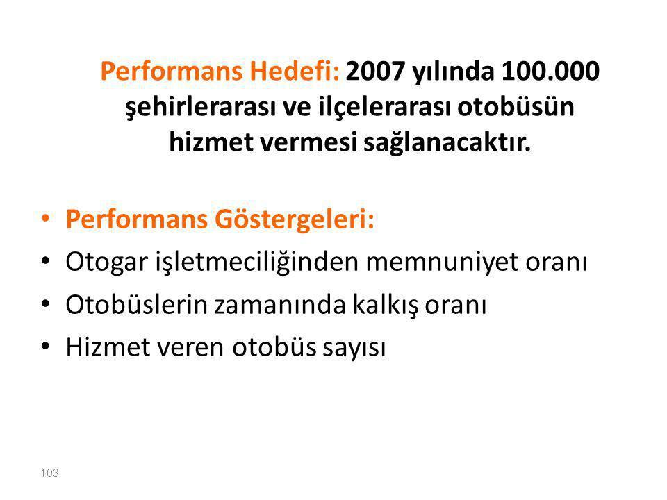 Performans Hedefi: 2007 yılında 100
