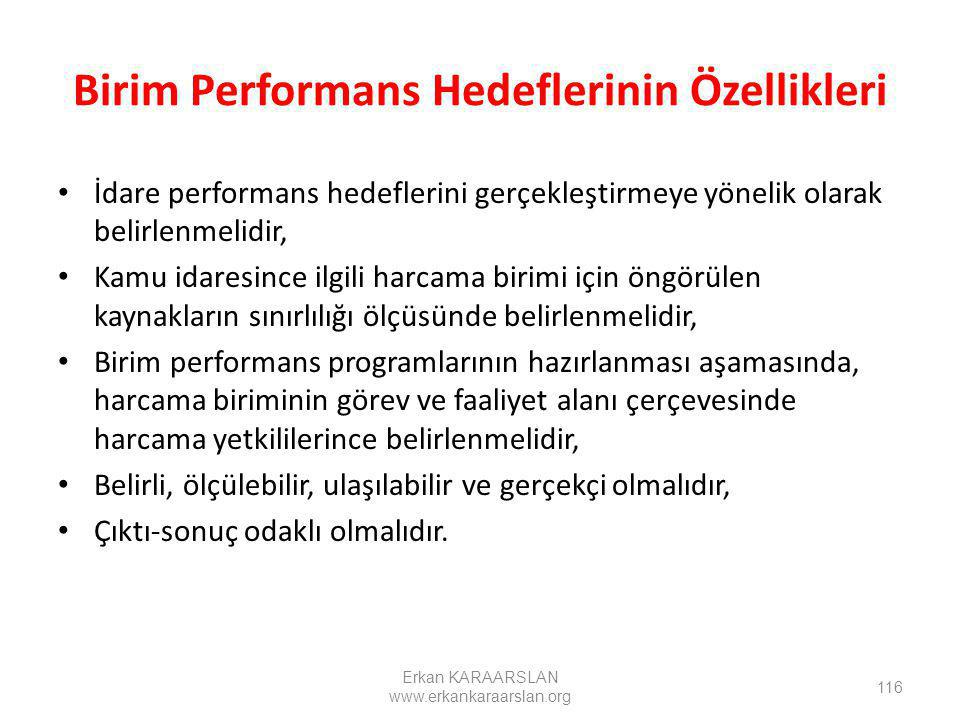Birim Performans Hedeflerinin Özellikleri