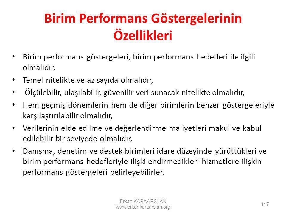 Birim Performans Göstergelerinin Özellikleri