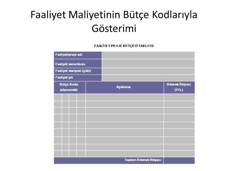 Faaliyet Maliyetinin Bütçe Kodlarıyla Gösterimi