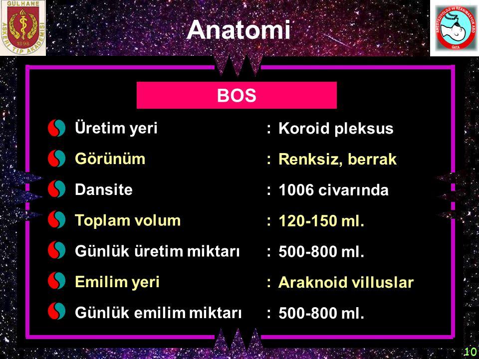 Anatomi BOS Üretim yeri : Koroid pleksus Görünüm : Renksiz, berrak