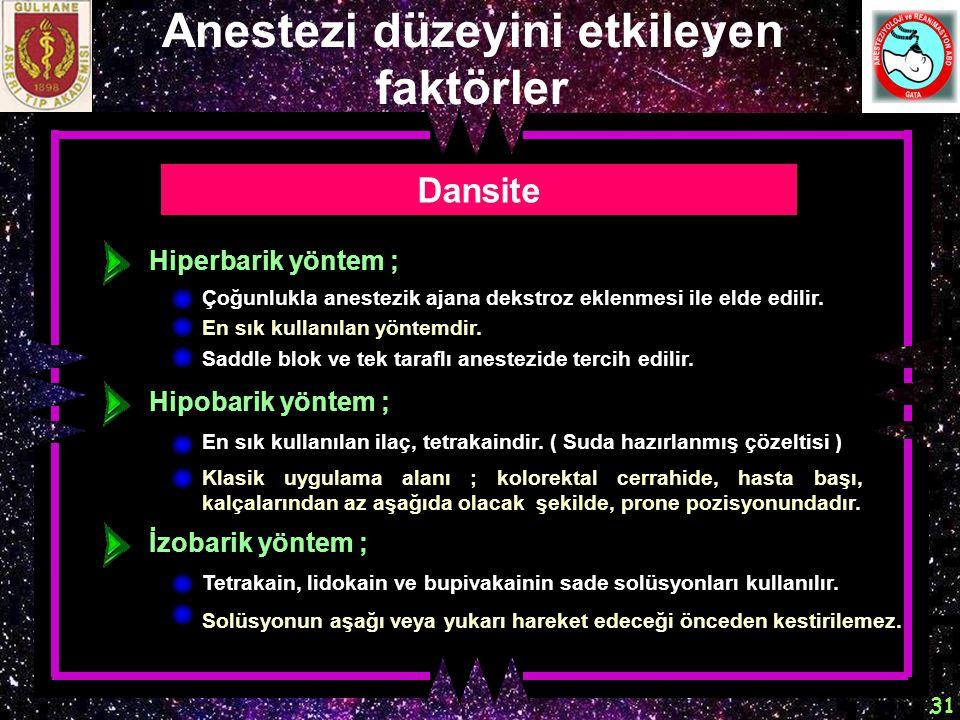 Anestezi düzeyini etkileyen faktörler