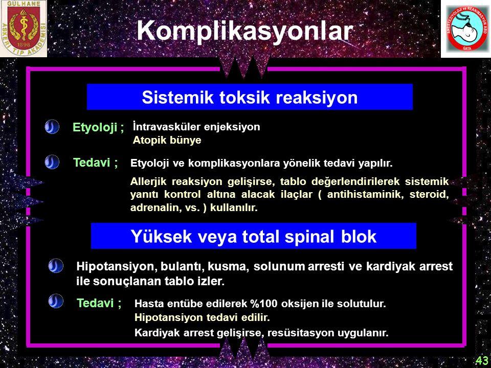 Sistemik toksik reaksiyon Yüksek veya total spinal blok