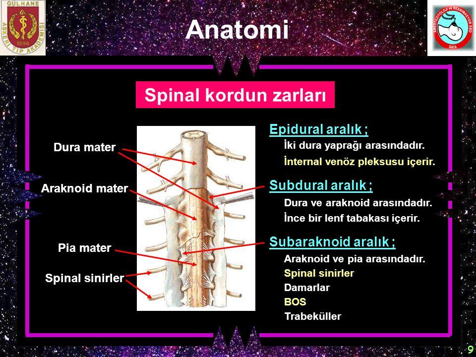 Anatomi Spinal kordun zarları Epidural aralık ; Subdural aralık ;