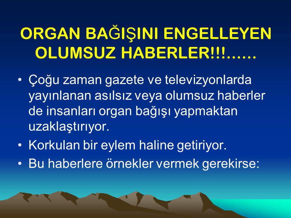 ORGAN BAĞIŞINI ENGELLEYEN OLUMSUZ HABERLER!!!......