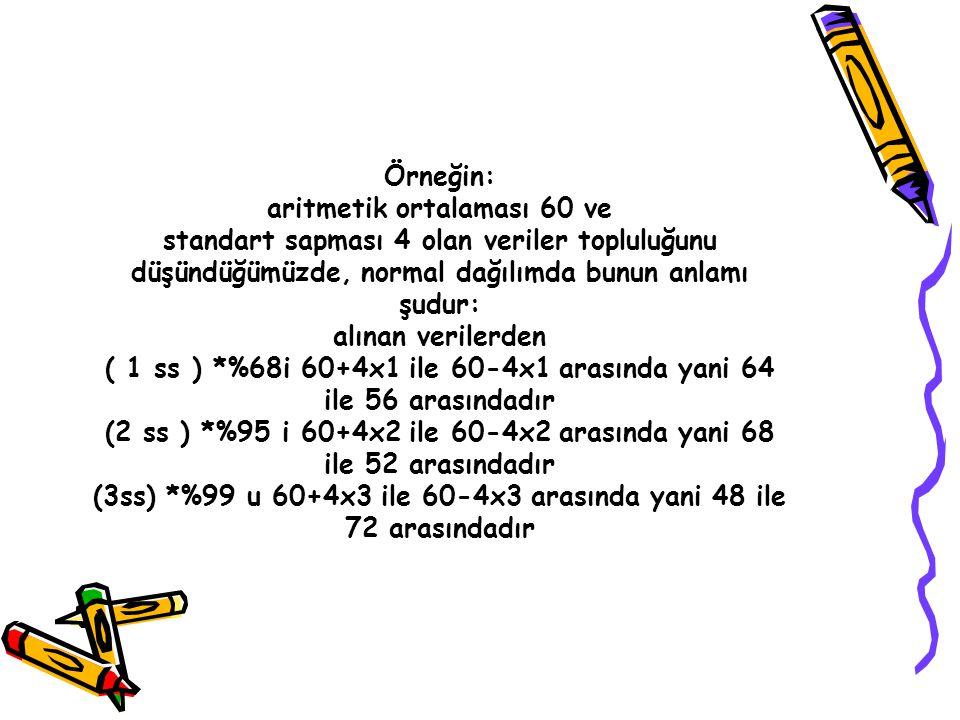 Örneğin: aritmetik ortalaması 60 ve standart sapması 4 olan veriler topluluğunu düşündüğümüzde, normal dağılımda bunun anlamı şudur: alınan verilerden ( 1 ss ) *%68i 60+4x1 ile 60-4x1 arasında yani 64 ile 56 arasındadır (2 ss ) *%95 i 60+4x2 ile 60-4x2 arasında yani 68 ile 52 arasındadır (3ss) *%99 u 60+4x3 ile 60-4x3 arasında yani 48 ile 72 arasındadır