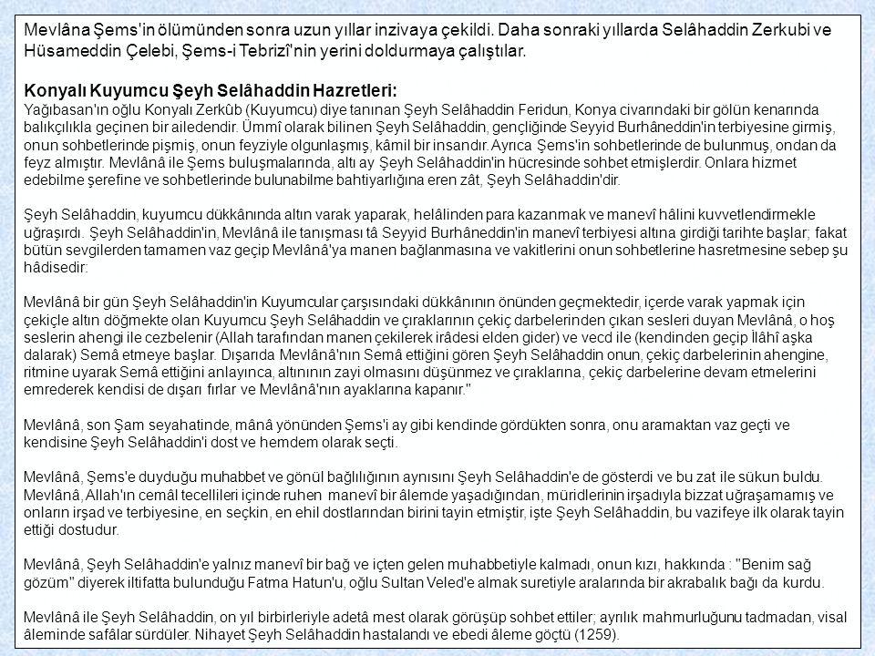 Konyalı Kuyumcu Şeyh Selâhaddin Hazretleri: