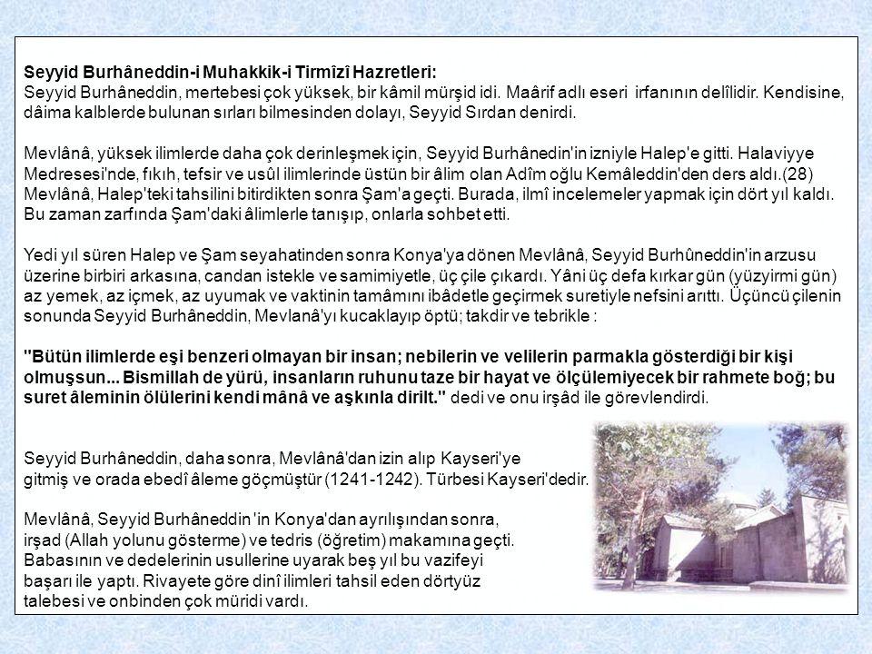 Seyyid Burhâneddin-i Muhakkik-i Tirmîzî Hazretleri: