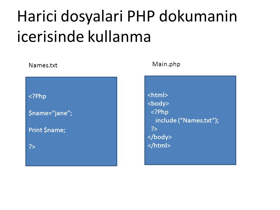 Harici dosyalari PHP dokumanin icerisinde kullanma