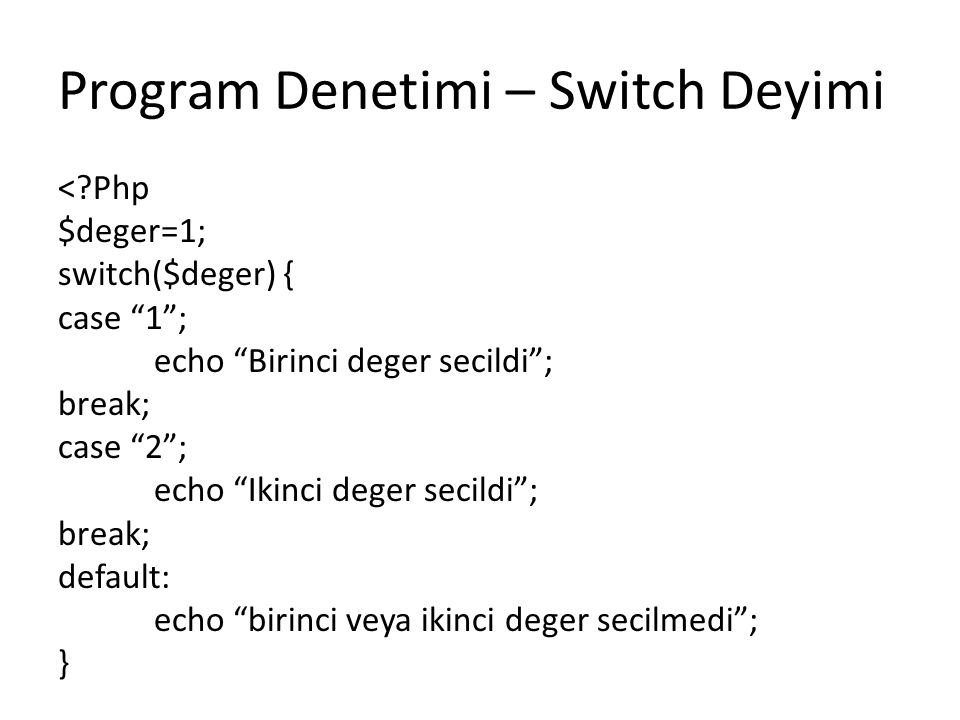 Program Denetimi – Switch Deyimi