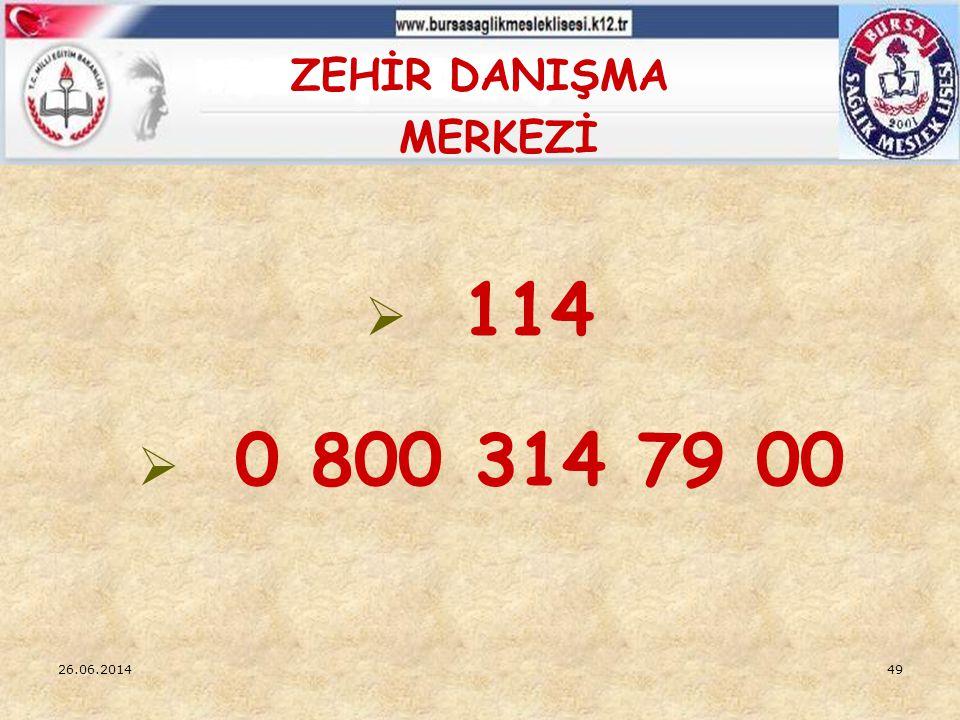 ZEHİR DANIŞMA MERKEZİ 114 0 800 314 79 00 03.04.2017