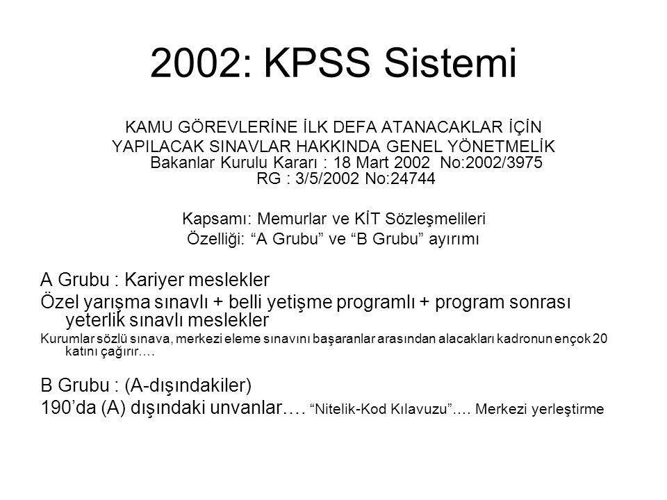 2002: KPSS Sistemi A Grubu : Kariyer meslekler