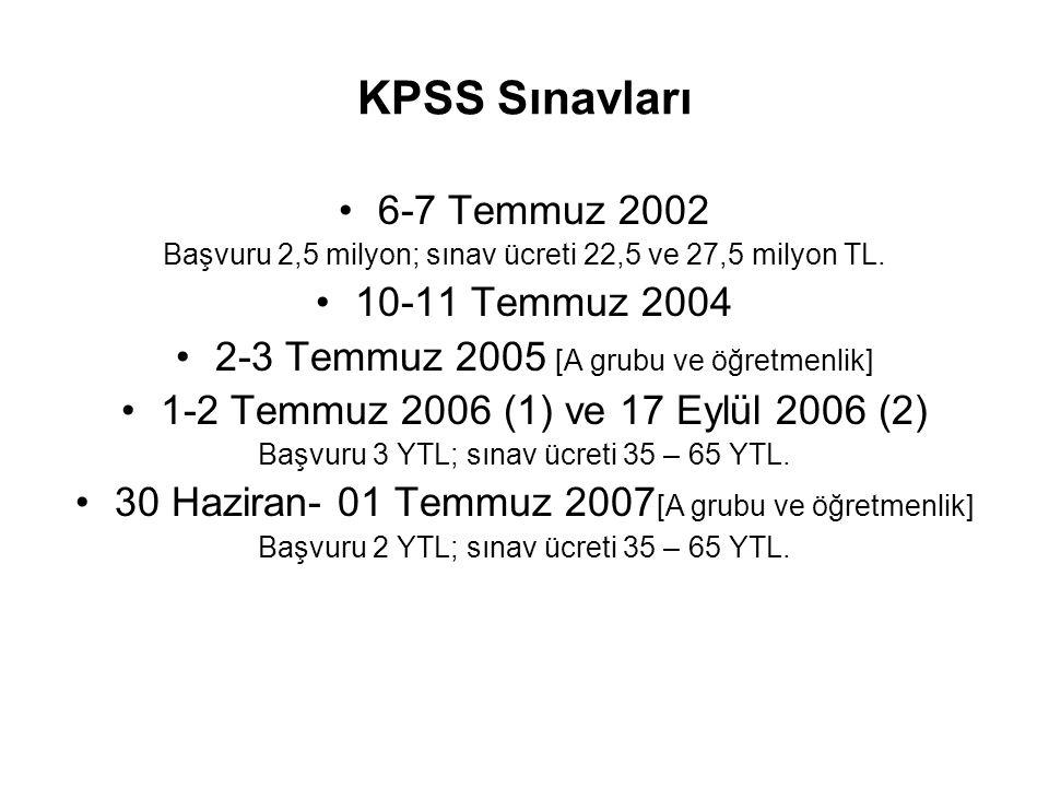 KPSS Sınavları 6-7 Temmuz 2002 10-11 Temmuz 2004