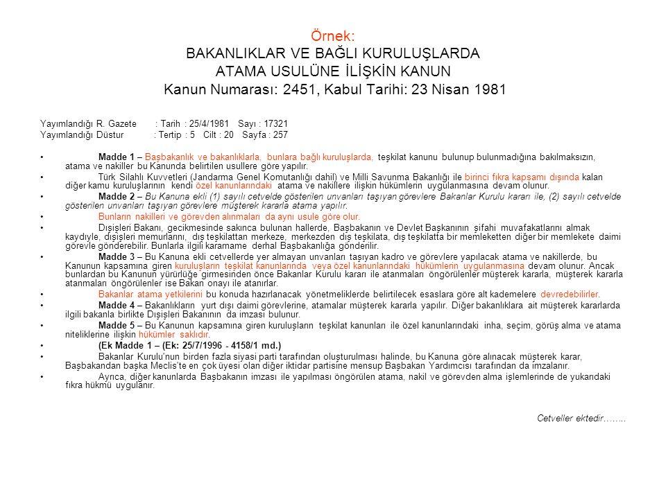 Örnek: BAKANLIKLAR VE BAĞLI KURULUŞLARDA ATAMA USULÜNE İLİŞKİN KANUN Kanun Numarası: 2451, Kabul Tarihi: 23 Nisan 1981