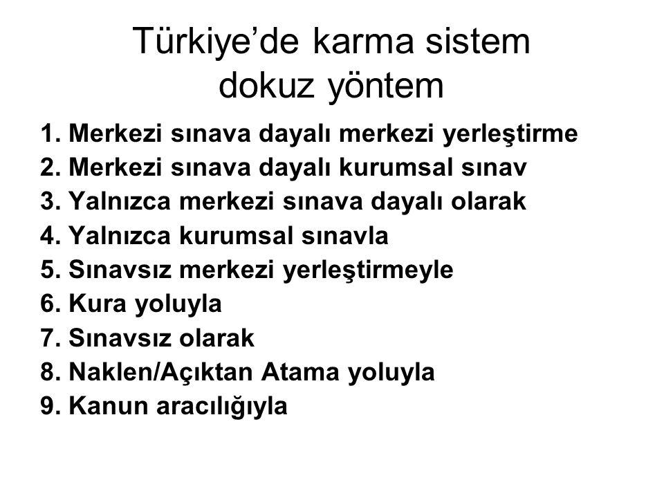 Türkiye'de karma sistem dokuz yöntem