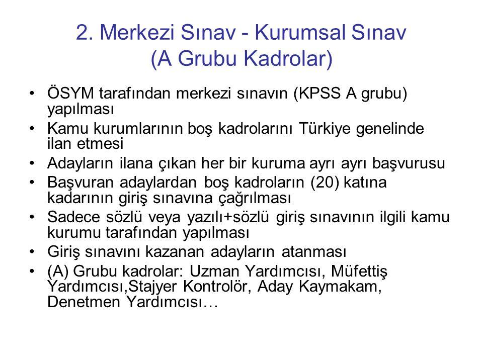 2. Merkezi Sınav - Kurumsal Sınav (A Grubu Kadrolar)