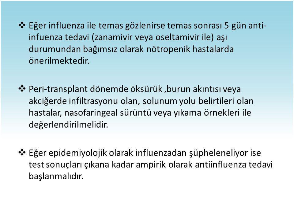 Eğer influenza ile temas gözlenirse temas sonrası 5 gün anti-infuenza tedavi (zanamivir veya oseltamivir ile) aşı durumundan bağımsız olarak nötropenik hastalarda önerilmektedir.
