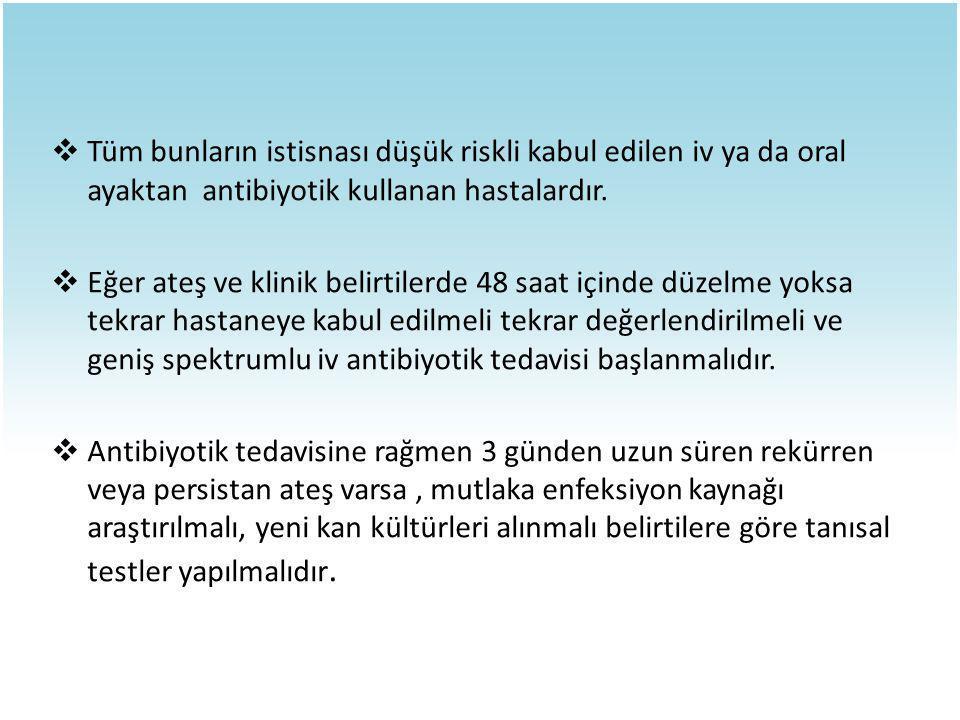 Tüm bunların istisnası düşük riskli kabul edilen iv ya da oral ayaktan antibiyotik kullanan hastalardır.