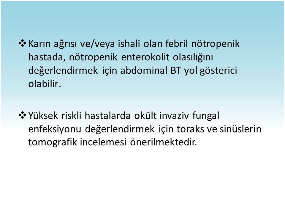 Karın ağrısı ve/veya ishali olan febril nötropenik hastada, nötropenik enterokolit olasılığını değerlendirmek için abdominal BT yol gösterici olabilir.