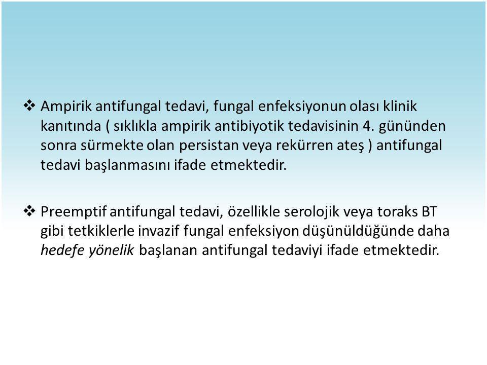 Ampirik antifungal tedavi, fungal enfeksiyonun olası klinik kanıtında ( sıklıkla ampirik antibiyotik tedavisinin 4. gününden sonra sürmekte olan persistan veya rekürren ateş ) antifungal tedavi başlanmasını ifade etmektedir.
