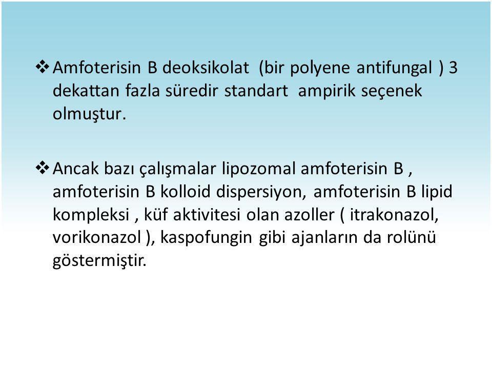 Amfoterisin B deoksikolat (bir polyene antifungal ) 3 dekattan fazla süredir standart ampirik seçenek olmuştur.