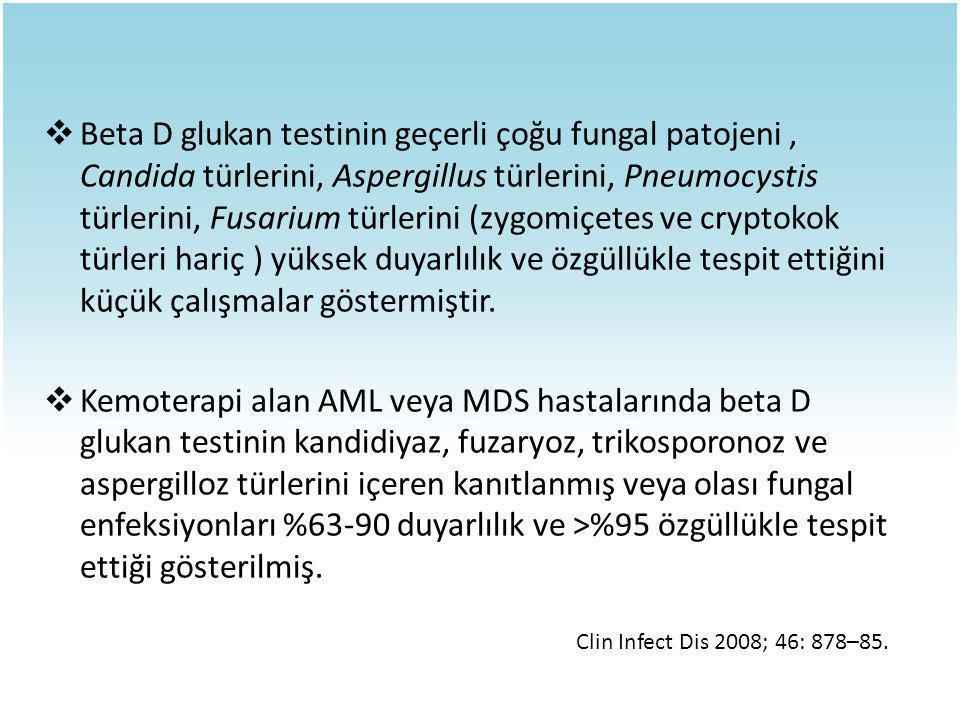 Beta D glukan testinin geçerli çoğu fungal patojeni , Candida türlerini, Aspergillus türlerini, Pneumocystis türlerini, Fusarium türlerini (zygomiçetes ve cryptokok türleri hariç ) yüksek duyarlılık ve özgüllükle tespit ettiğini küçük çalışmalar göstermiştir.