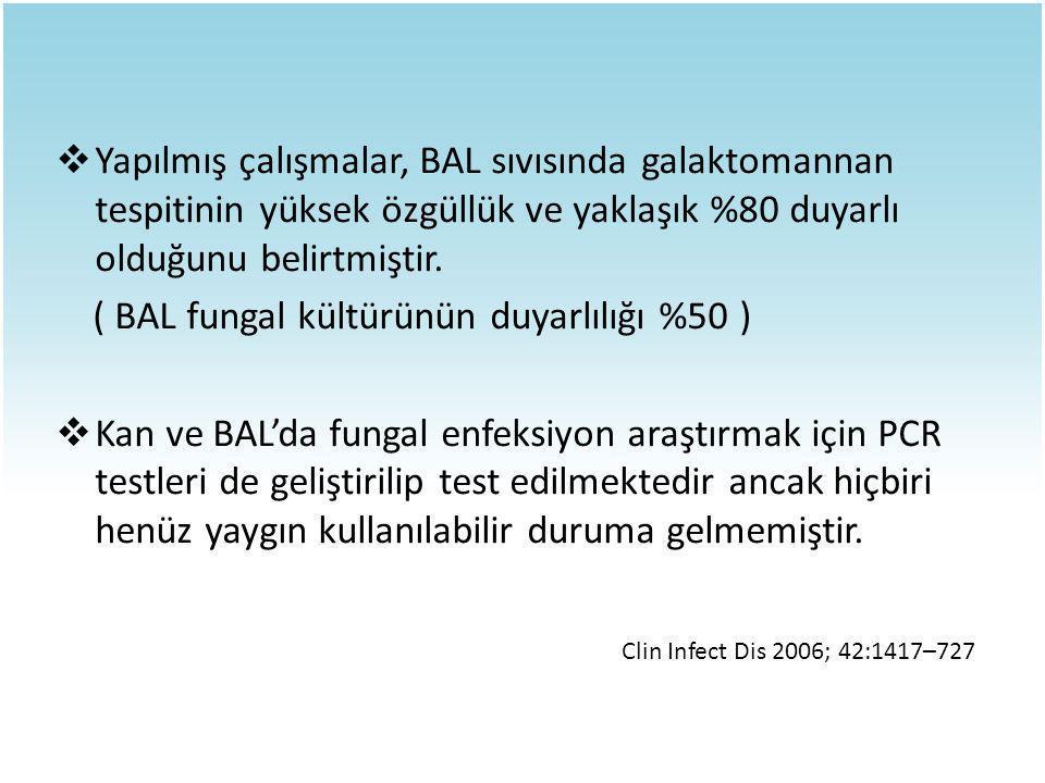 ( BAL fungal kültürünün duyarlılığı %50 )