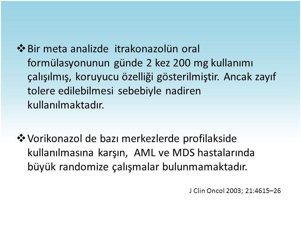 Bir meta analizde itrakonazolün oral formülasyonunun günde 2 kez 200 mg kullanımı çalışılmış, koruyucu özelliği gösterilmiştir. Ancak zayıf tolere edilebilmesi sebebiyle nadiren kullanılmaktadır.