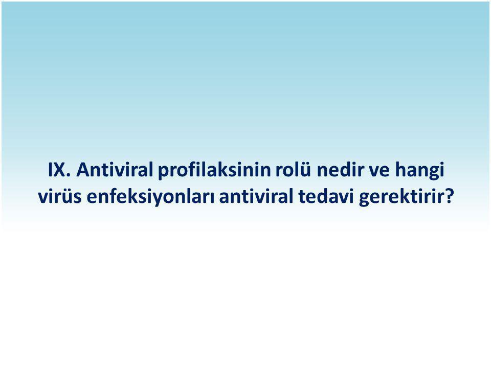 IX. Antiviral profilaksinin rolü nedir ve hangi virüs enfeksiyonları antiviral tedavi gerektirir