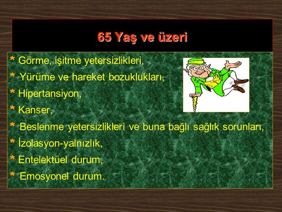 65 Yaş ve üzeri * Görme, işitme yetersizlikleri,