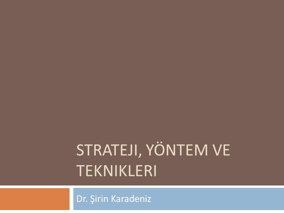 Strateji, Yöntem ve Teknikleri