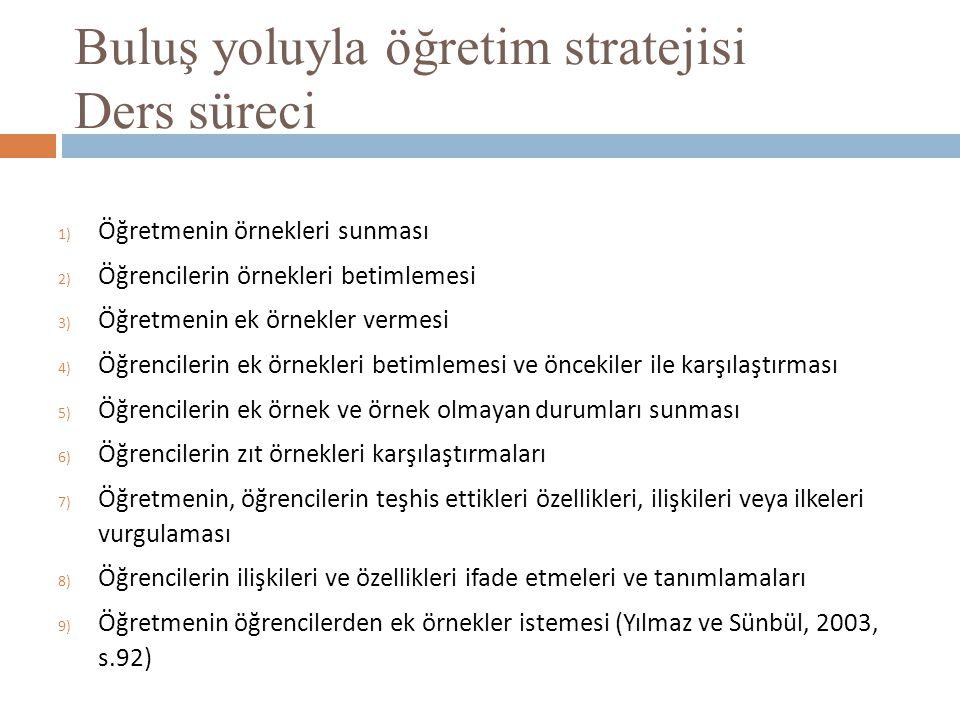 Buluş yoluyla öğretim stratejisi Ders süreci