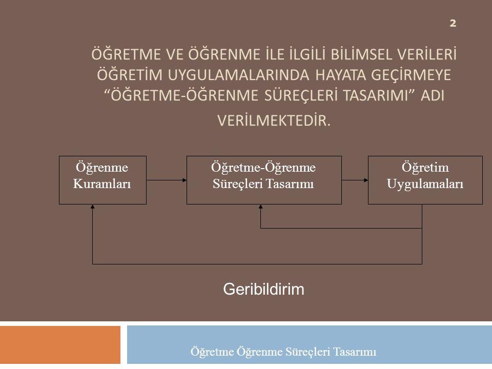 Öğretme-Öğrenme Süreçleri Tasarımı