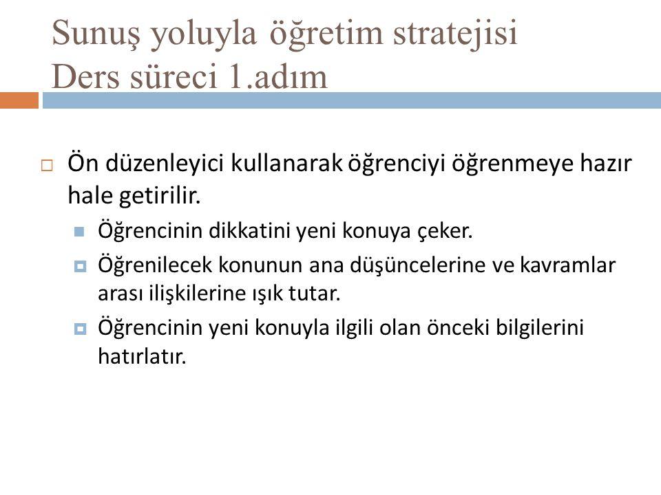 Sunuş yoluyla öğretim stratejisi Ders süreci 1.adım