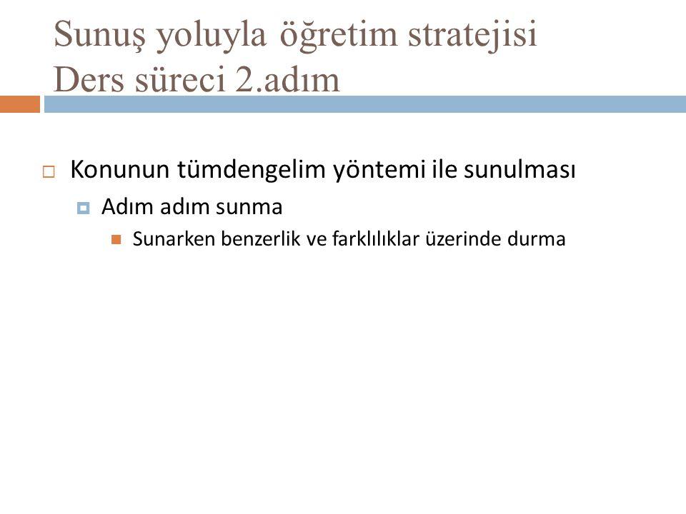 Sunuş yoluyla öğretim stratejisi Ders süreci 2.adım