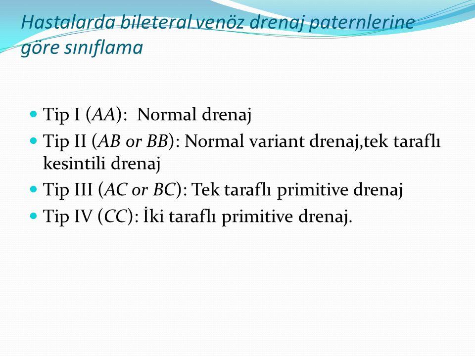 Hastalarda bileteral venöz drenaj paternlerine göre sınıflama