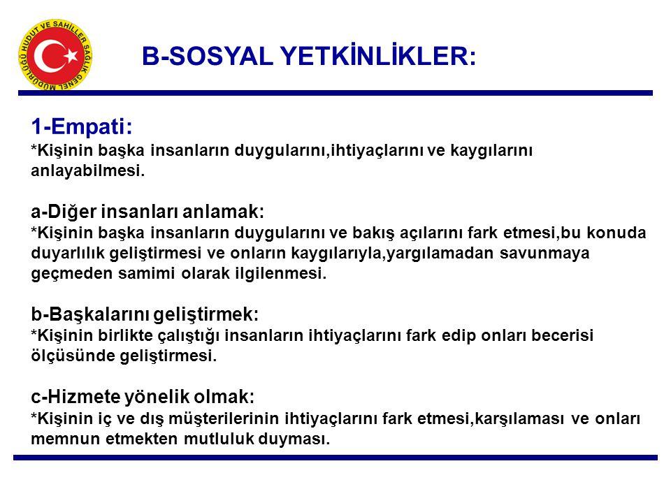 B-SOSYAL YETKİNLİKLER: